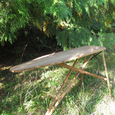 Vintage Wood Metal Ironing Board Antique Wooden Ironing Board Primitive Hall Table Farmhouse Decor Entry Table Antique Wood Plant Stand by akaATA
