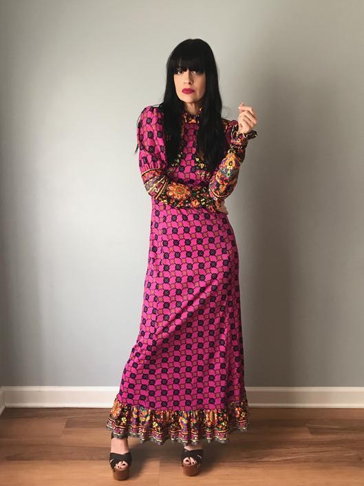 6502d9f0d3 70s MAD WHIRL bohemian maxi dress
