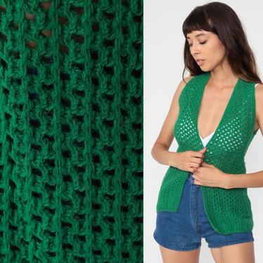 Crochet Vest Green Knit Top 70s Hippie Boho Vest Open Weave Sheer 1970s Vintage Bohemian Sleeveless Sweater Small s by ShopExile