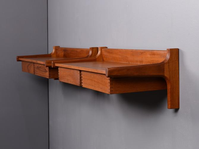 Pair of Mid-Century Wall-Mount Nightstands or Shelves Teak Danish Modern by MadsenModern