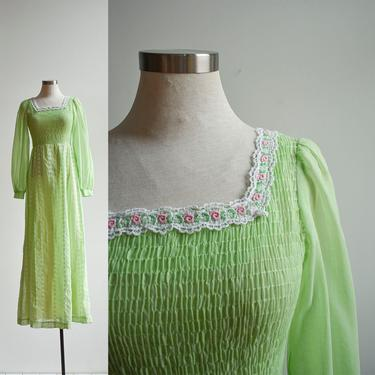 1970s Lime Green Eyelet Lace Prairie Dress by milkandice
