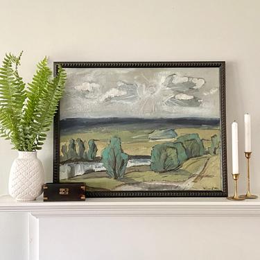 Large Vintage Landscape Oil Painting by ModRendition