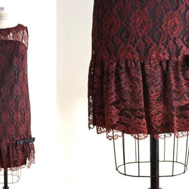 vintage 60s mod burnt sienna lace dress | knee length dress | sleeveless mod dress by VINandMUM