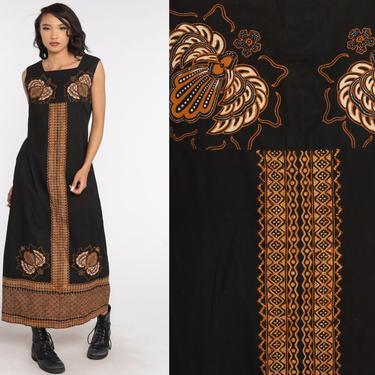 Batik Caftan Dress Hippie Maxi 60s Kaftan Black Boho Ethnic Bohemian Vintage 70s Sleeveless Dress Festival 1960s Gold Long Medium by ShopExile