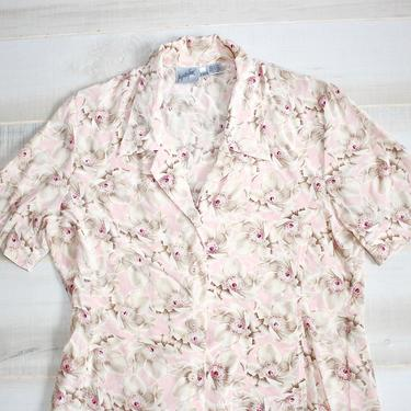 Vintage 90s Silk Shirt, 1990s Floral Blouse, Collared Shirt, Button Up, Top, Flower Print, Oversized, Boxy, Romantic by WildwoodVintage