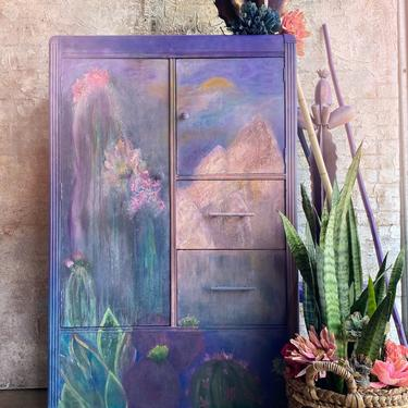 Hand Painted Cacti Floral Mountains Southwestern Style Armoire Wardrobe Cabinet ~ Bedroom Living Room Wardrobe Cabinet  ~ Painted Furniture by DareToBeVintage