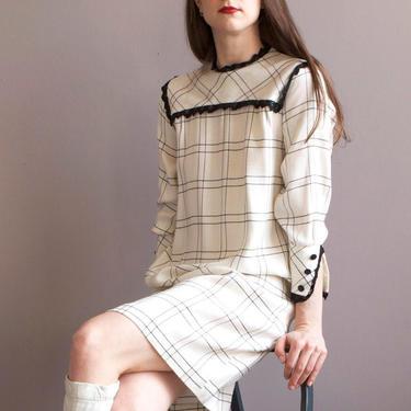 white & black woven check babydoll dress / sz XS by EELT