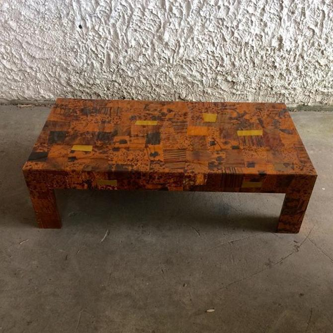 Pounded Copper Patchwork Coffee Table; Late Mid-century