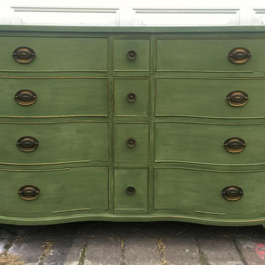 Refurbished Vintage Dresser by Kindel, Antique Green Triple Dresser, Distressed Shabby Chic Rustic Dresser, Free NYC Delivery by AntiqueBoutiqueNYC