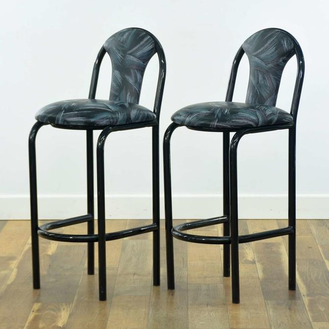 Pair Of 1980S Black Deco Revival Bar Stools