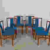 Set of 6 Danish Modern Blue Upholstered Teak Sculpted-back Dining Chairs