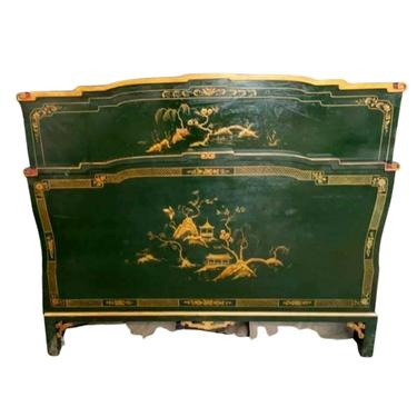 Antique Chinoiserie Bed, Lacquered & Paint Decorated Bed, Aisan Theme, 1900's!