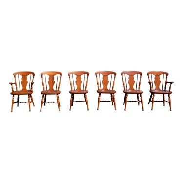 Vintage Mid Century Colonial Heywood Wakefield Maple Dining Chairs- Set of 6