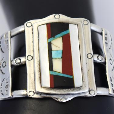 Big 70's 925 silver turquoise red jasper jet bone and MOP Zuni style cuff, rough handmade stone inlay stamped sterling Southwestern bracelet by BetseysBeauties