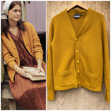 Vtg 50s Gold / Mustard Knit Cardigan/  Yellow Varsity Cardigan  / Gold Letterman Sweater / MN Sm / Wmns LG by AmericanDrifter