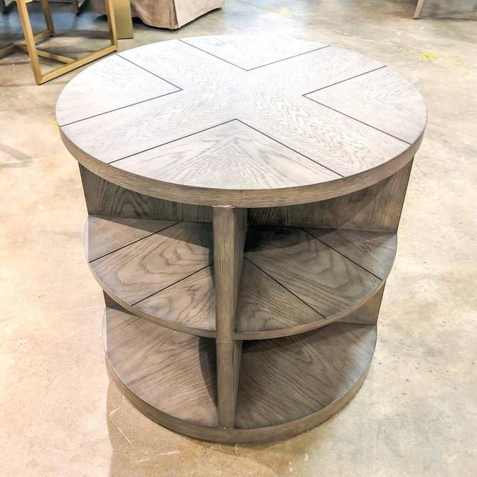 Round Ash Gray Shelved Side Table