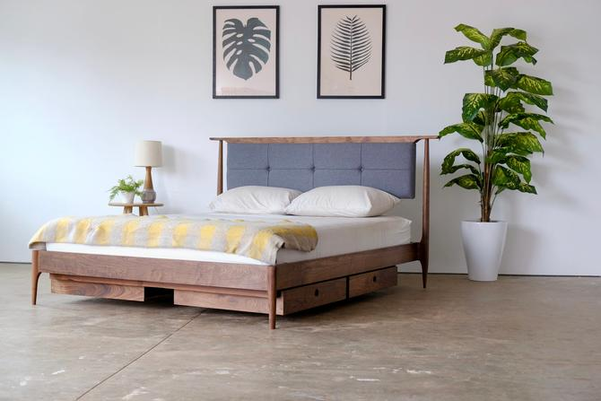 Custom Mid Century Upholstered Platform Bed, Hand Crafted Modern Storage Bed with Fabric or Leather Headboard, New Home Gift by BeautyBreadWoodshop
