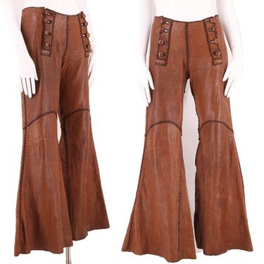 70s NORTH BEACH brown leather rock & roll bell bottoms pants 7/8 / vintage 1970s custom made whip stitched western pants flares 31 by ritualvintage
