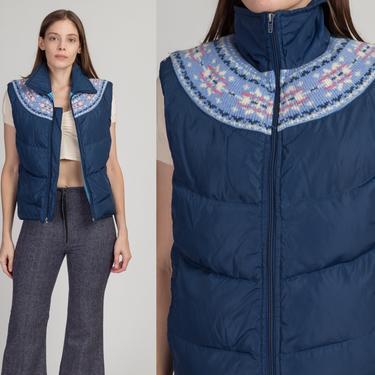70s Blue Fair Isle Puffer Vest - Medium | Vintage Down Fill Retro Sleeveless Ski Jacket by FlyingAppleVintage