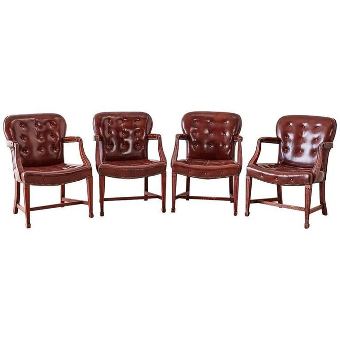 Set of Four Edwardian Tufted Leather Library Chairs by ErinLaneEstate