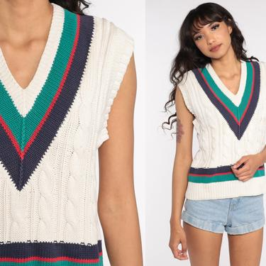 Cable Knit Vest Top Off-White Sleeveless Sweater 90s Tank Cotton Striped Vest 1990s Sleeveless V Neck Vintage Cableknit Medium Large by ShopExile