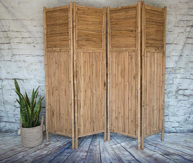 SHIPPING NOT FREE!!! Vintage Bamboo Room Divider by WorldofWicker