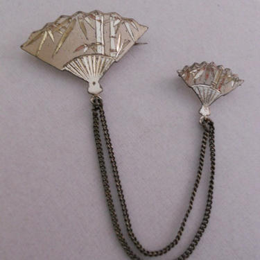 Damascene Sterling Silver Japanese Double Fan Pin by estateoriginals