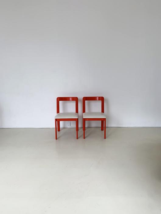 1970s Red/Orange Dining Chairs - Pair