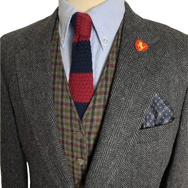 Vintage 100% Wool TWEED Blazer ~ 39 R ~ jacket / sport coat ~ Herringbone ~ Preppy / Ivy Style / Trad ~ 38 to 40 by SparrowsAndWolves