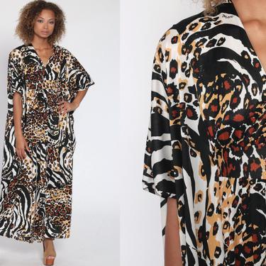 Leopard Print Dress Maxi 70s Long Caftan Dress 1970s Hippie Festival Boho Animal Tiger Dress Vintage Kimono Sleeve Kaftan Small Medium Large by ShopExile
