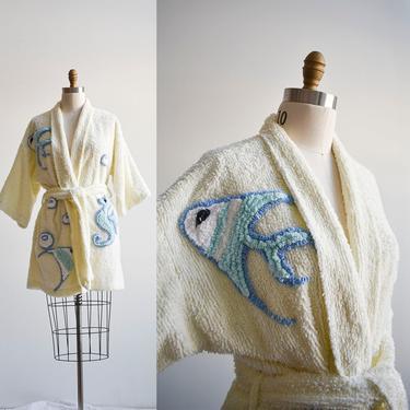 Vintage Damze Chenille Short Bath Robe by milkandice