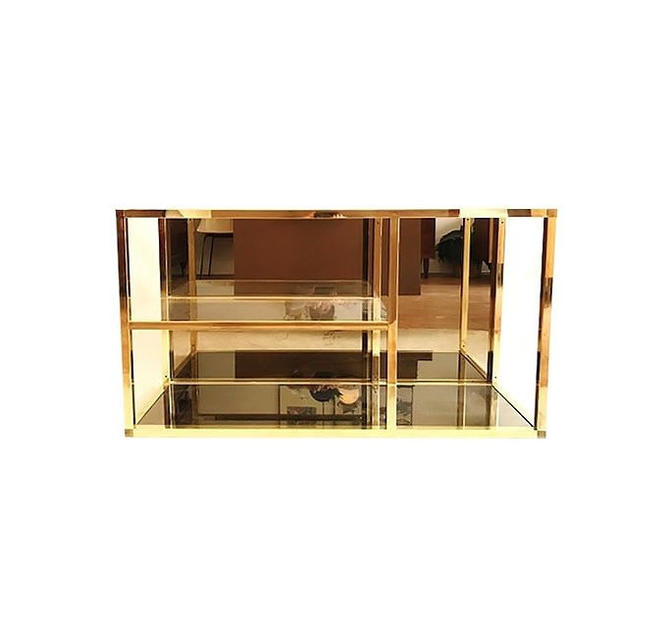 Vintage Modern Brass and Glass Shelving Unit by minthome