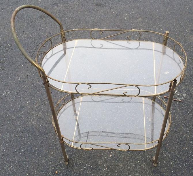 Vtg MCM Brass Metal Atomic Age Rolling Serving Patio Bar Tea Cart