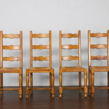 Vintage Set of 4 Country French Farmhouse Ladder Back Oak Dining Chairs by StandOutSpaces