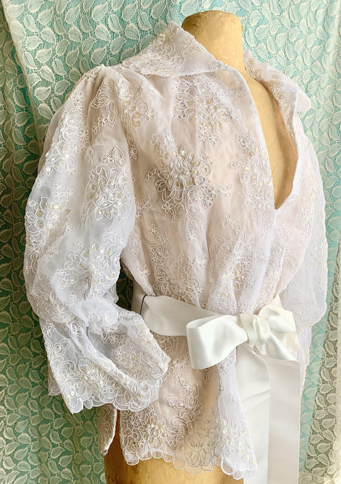 Fabulous Sheer Top, Beads, Faux Pearls, Puff Sleeves, Cocktail, Wedding, Bridal, Lillie Rubin, Vintage 90s by GabAboutVintage