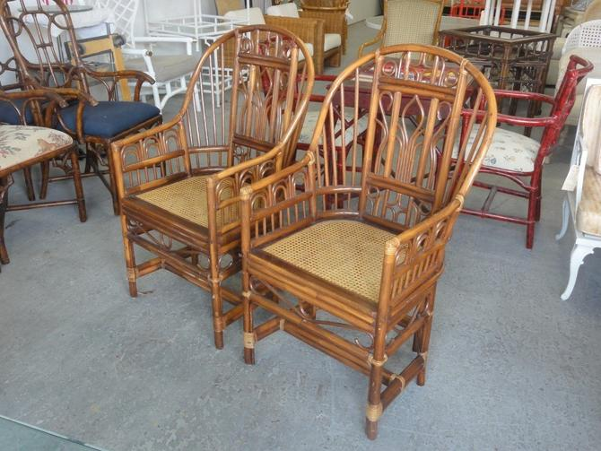 Pair of Rattan & Cane Brighton Style Chairs