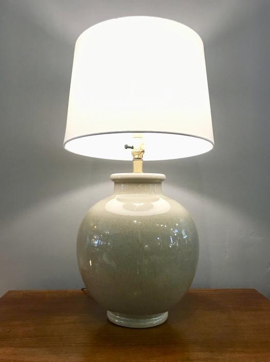 1960's Ceramic Table Lamp-light Green