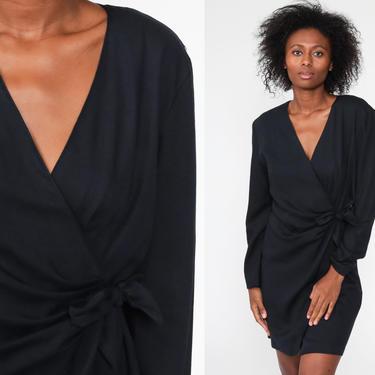 Black Wrap Dress Disco Party Grecian 70s Dress Boho Midi Deep V Neck High Waist Vintage Long Sleeve Formal Bohemian Drape Medium by ShopExile