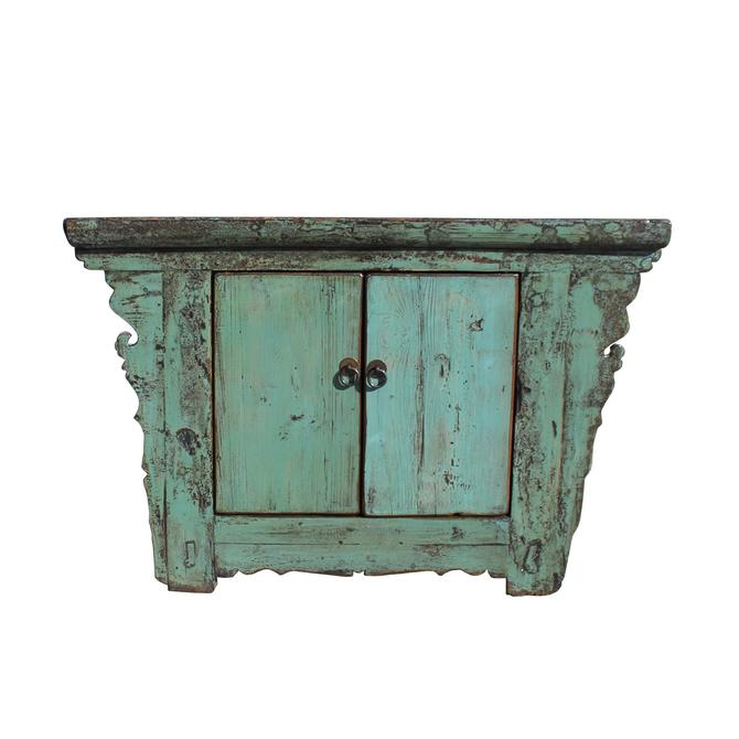Chinese Rustic Wood Distressed Turquoise Green Side Table Cabinet cs5447S