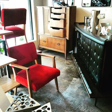 bar and red chairs