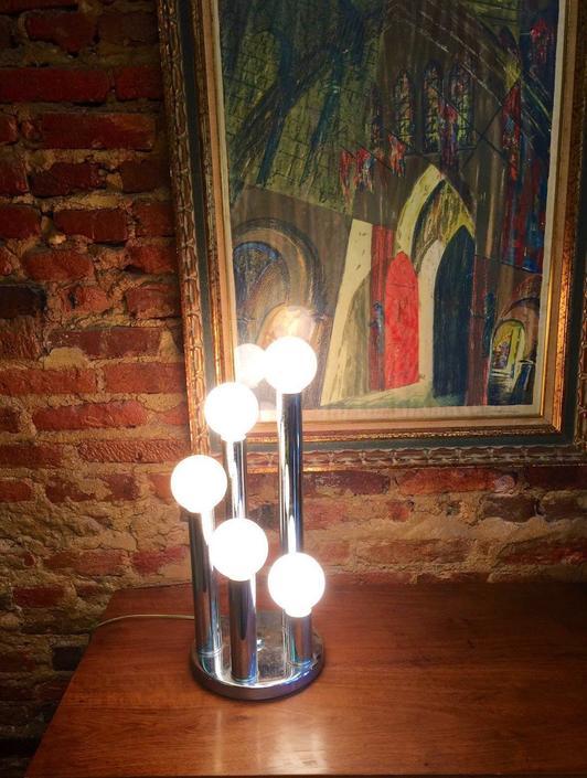 Vintage five globe chrome table lamp Sonneman style by UrbanInteriorsBalt