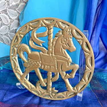 Vintage Brass Trivet, Carousel Horse, Merry Go Round, Dated 1979 by GabAboutVintage
