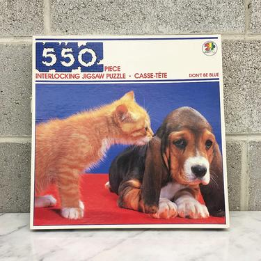 """Vintage Puzzle Retro 1980s Don't be Blue + 550 Pieces + 18"""" X 24"""" + Interlocking Jigsaw + Puppy and Kitten + Hound + Orange Tabby + Toys by RetrospectVintage215"""