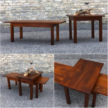 Vintage Craftsman Made Walnut Tableskeep It Simple. But Keep It High Quality, Too. That Must Have Been The Ethos Of The Craftsman Who Created These Solid Walnut Accent Tables. The Design Is Straightforward With No Frills, But The Build Quality And Materials Are Top-notch. The Long, Low Table Can Be Used A Coffee Table Or A Bench; It's That Strong. The Accent Table Is Equally Well-built, And Both Have Been Restored To Showcase The Wood Grain. Long Table Dimensions Are 48″l X 15″
