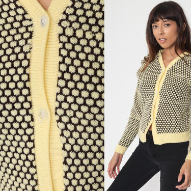 70s Cardigan HONEYCOMB Print Yellow Sweater Hippie Boho Brown 1970s Button Up dyed Seventies Knit Bohemian vtg Extra Small xs by ShopExile