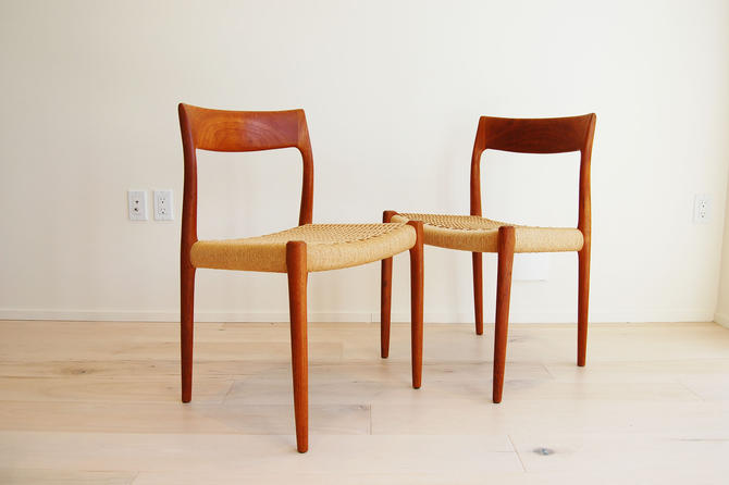 Pair of Danish Modern J L Moller Teak Dining Chairs Model 77 Made in Denmark by MidCentury55