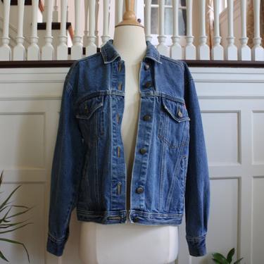 Vintage 80s 90s Gloria Vanderbilt Medium Blue Wash Denim Trucker Style Jean Jacket Women's Size M by NeonSkyVintageMN