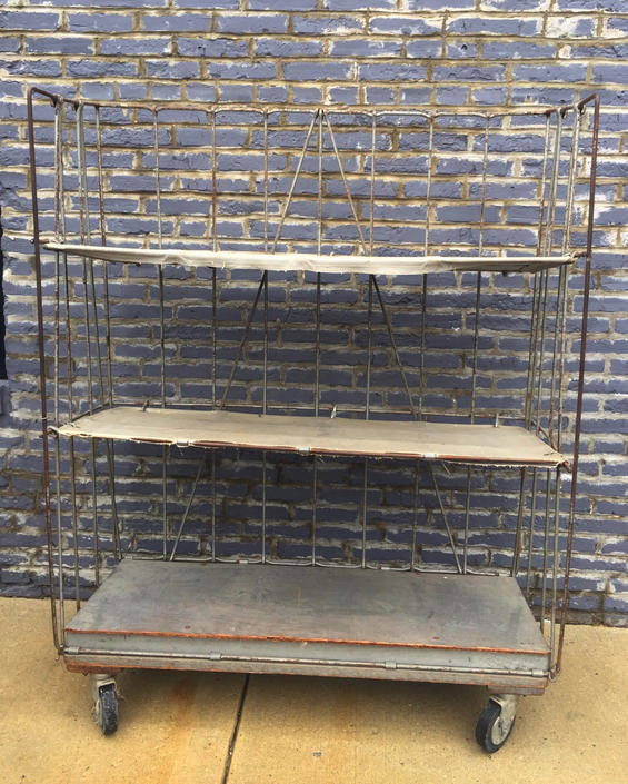 Vintage Canvas & Metal Shelving on Casters