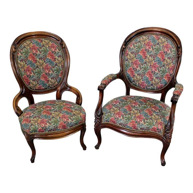 Pair of Vintage Victorian Parlor Set Ladies & Gentleman Chairs by AnnexMarketplace