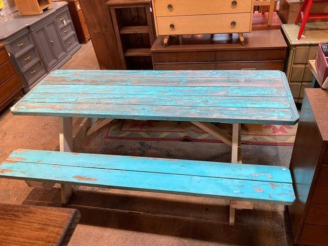 """Super sturdy blue picnic table.  87"""" long 61"""" wide table height 31"""" bench height 19"""""""